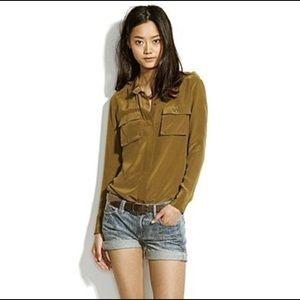 Madewell Silk Cargo Pocket Button downs shirt XS
